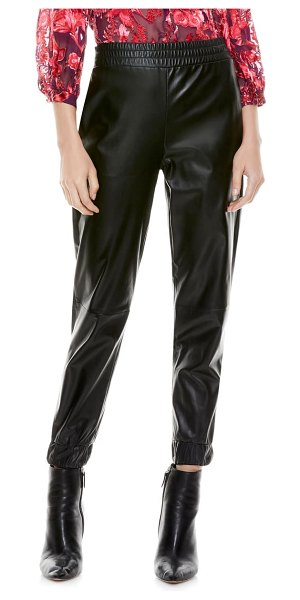 Alice + Olivia pete faux leather joggers in black