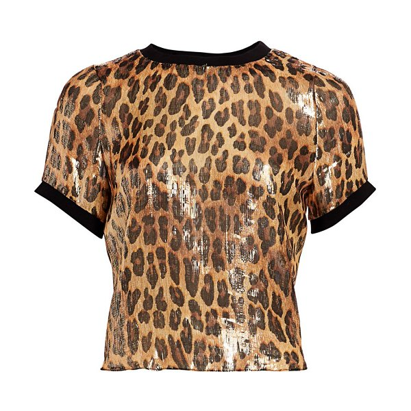 Alice + Olivia piera coated leopard rib-trim tee in spotted leopard dark tan