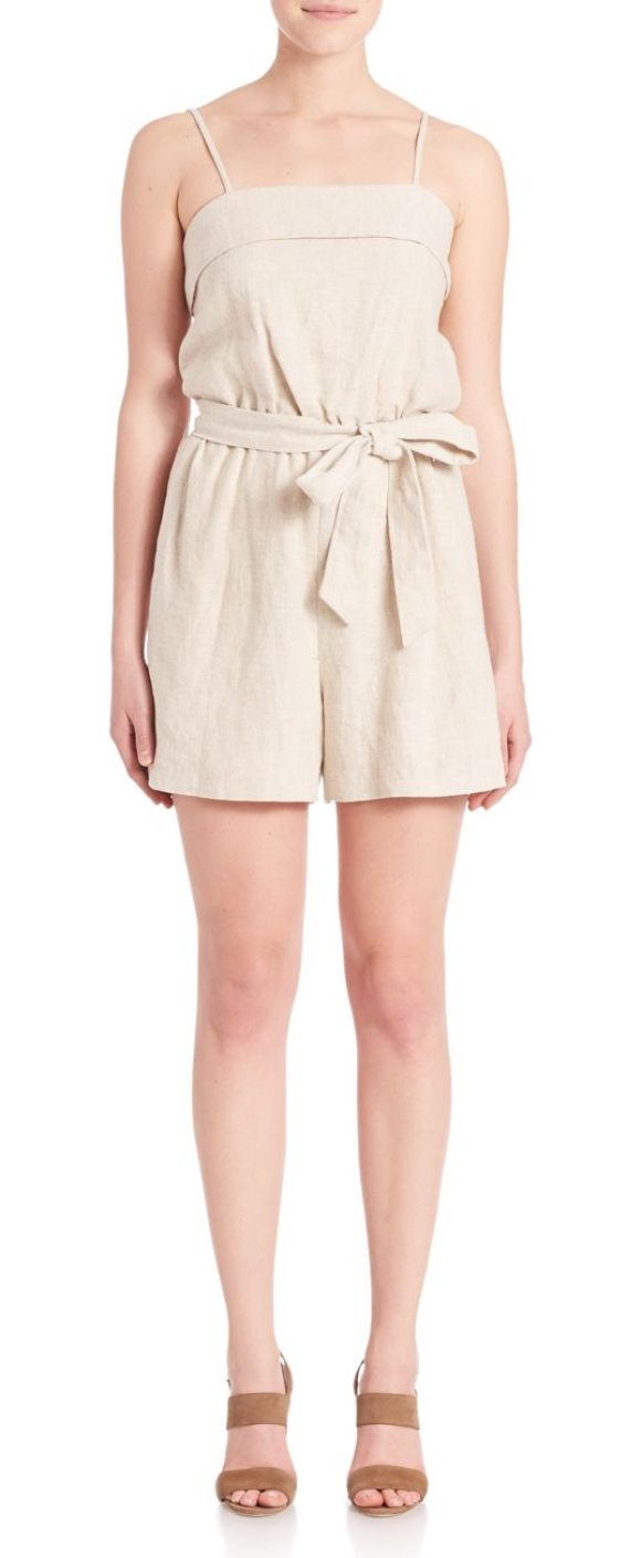 4625963df46 Alice + Olivia Rosetta Sleeveless Romper in natural - Chic romper styled  with self-tie