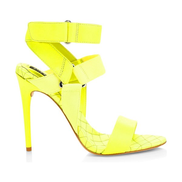 Alice + Olivia talene mix media leather ankle strap sandals in neon yellow