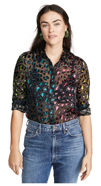 Alice + Olivia willa colorblock pocket top in abstract leopard teal/combo