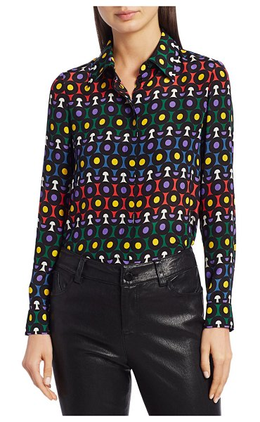 Alice + Olivia Willa Printed Silk Blouse in large rainbow dot