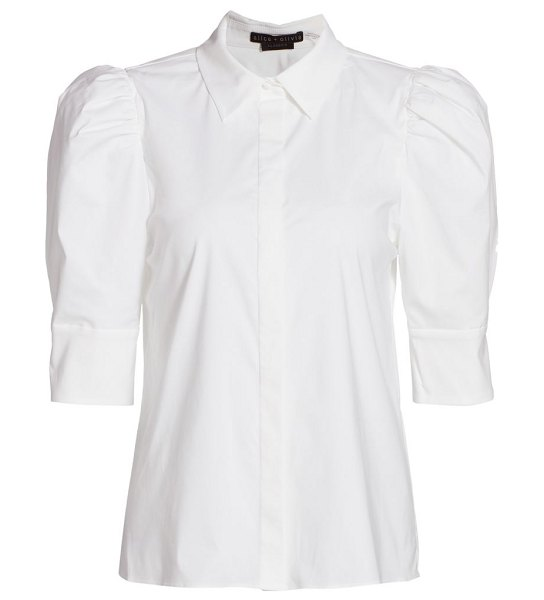 Alice + Olivia willa puff-sleeve blouse in off white