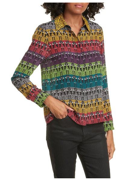 Alice + Olivia willa stace face rainbow silk shirt in ombre stace