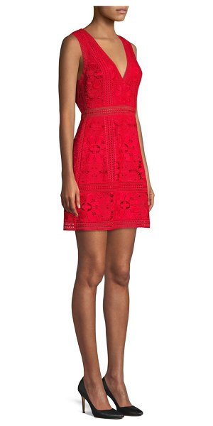 Alice + Olivia Zula Floral Eyelet Lace A-Line Dress in ruby
