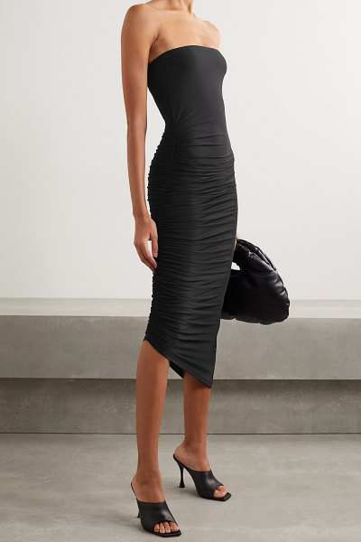 ALIX NYC crawford strapless asymmetric ruched stretch-jersey dress in black