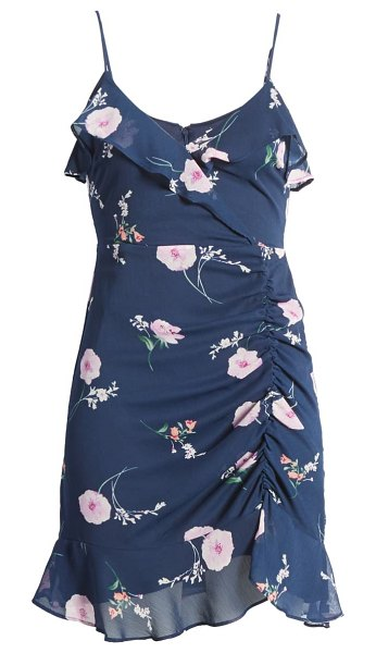 ALL IN FAVOR callie ruffle minidress in navy-pink floral
