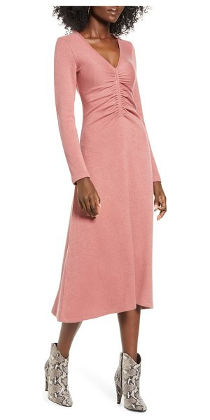 ALL IN FAVOR cinch front long sleeve midi sweater dress in pink adobe