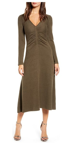 ALL IN FAVOR cinch front long sleeve midi sweater dress in olive