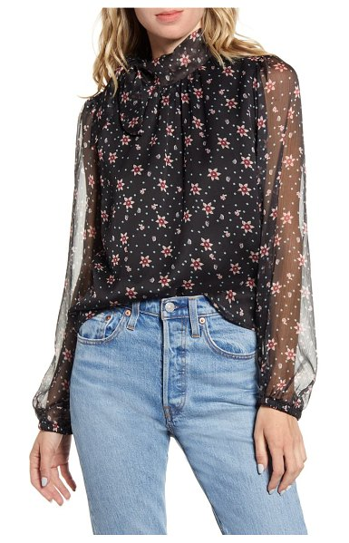 ALL IN FAVOR floral sheer sleeve blouse in black floral