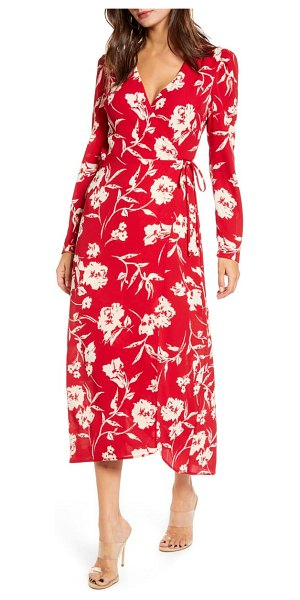 ALL IN FAVOR long sleeve midi wrap dress in deep red butter