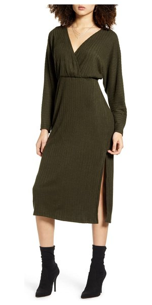 ALL IN FAVOR ribbed long sleeve midi sweater dress in olive