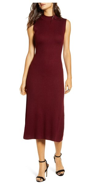 ALL IN FAVOR ribbed midi sweater dress in burgundy
