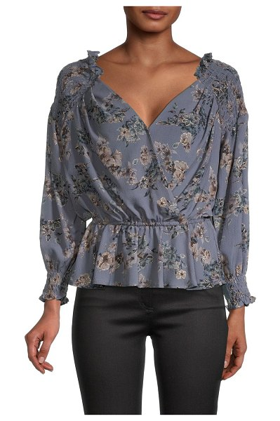 Allison New York Floral Deep V-neck Blouse in stormy blue