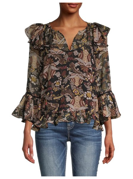 Allison New York Floral-Print Ruffled Blouse in brown multi