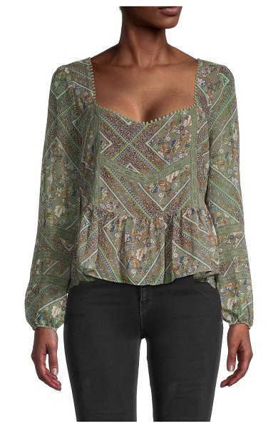 Allison New York Mixed Print Blouse in sage