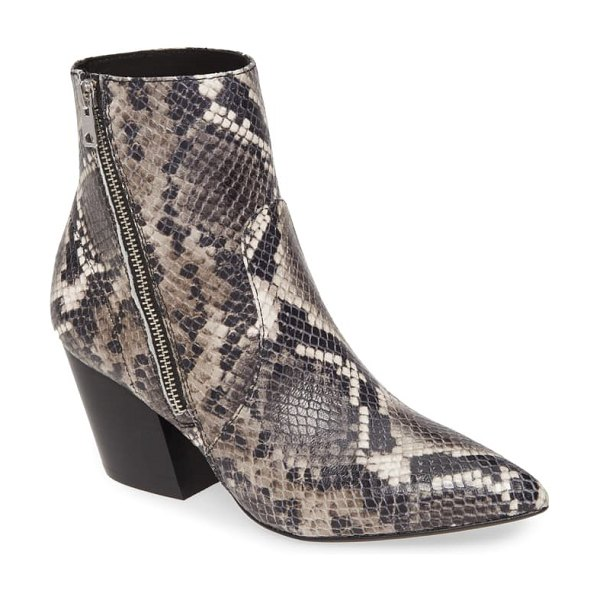 ALLSAINTS aster bootie in black/ white snake leather
