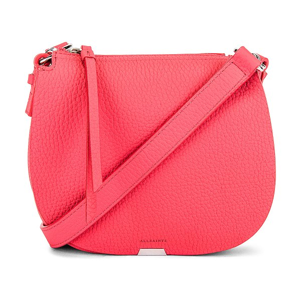 ALLSAINTS captain lea small round crossbody in coral pink