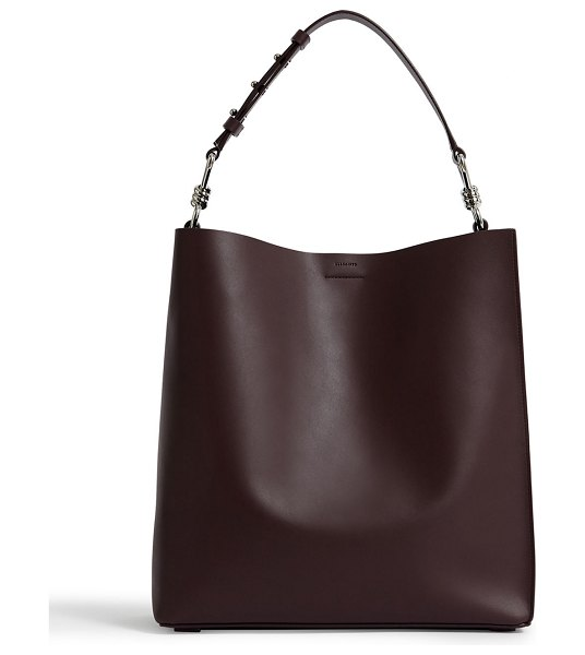 ALLSAINTS Captain North/South Leather Tote Bag in dark red