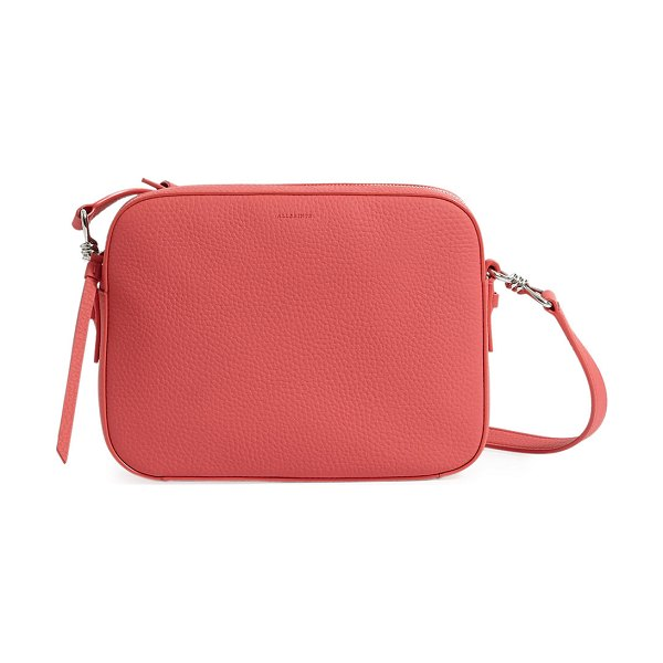 ALLSAINTS Captain Square Leather Crossbody Bag in coral
