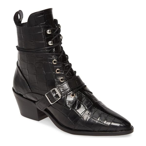 ALLSAINTS katy boot in black croc leather