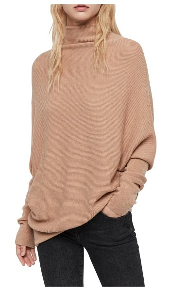 ALLSAINTS ridley funnel neck wool & cashmere sweater in toffee brown