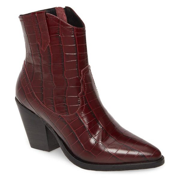 ALLSAINTS rolene western boot in berry croc leather
