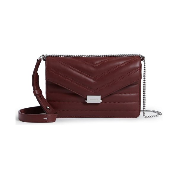 ALLSAINTS small justine quilted leather crossbody bag in brick