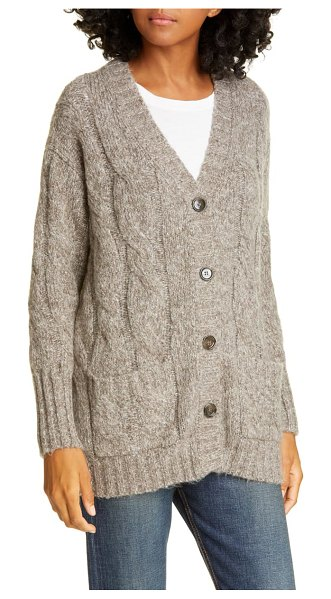 ALLUDE cable knit cardigan in brown