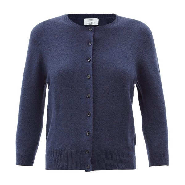 ALLUDE cropped-sleeve cardigan in navy