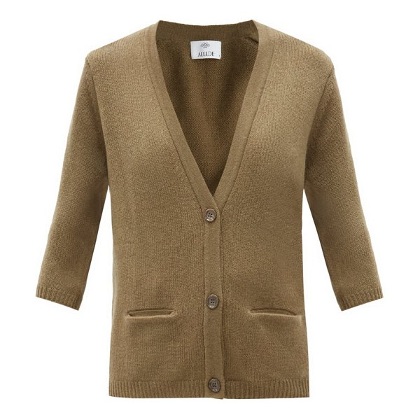 ALLUDE cropped-sleeve cashmere cardigan in khaki