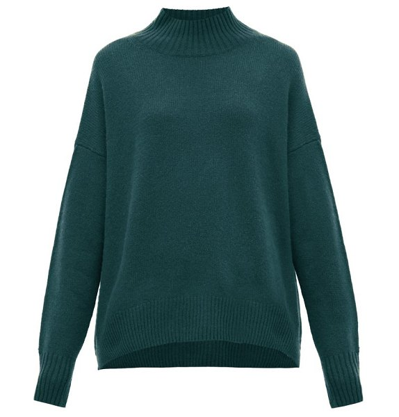 ALLUDE mock-neck cashmere sweater in green