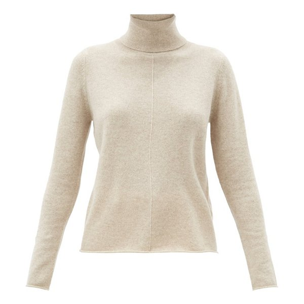 ALLUDE roll-neck cashmere sweater in beige