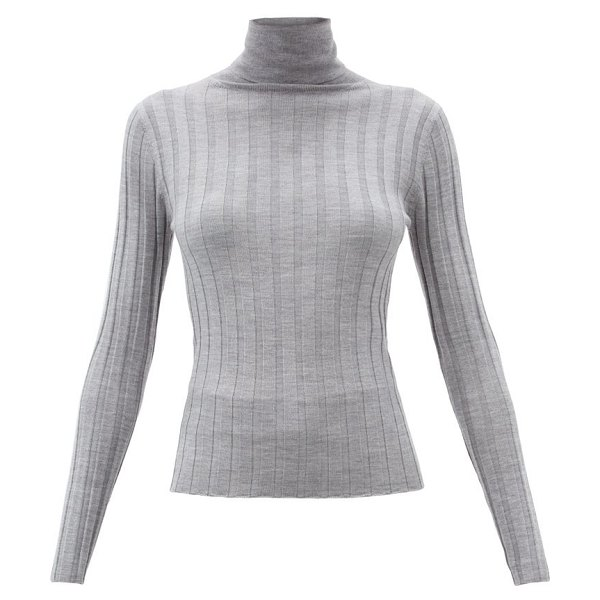 ALLUDE roll-neck ribbed-wool sweater in light grey