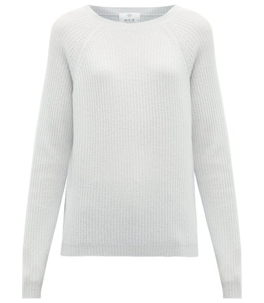 ALLUDE round-neck cashmere sweater in light blue