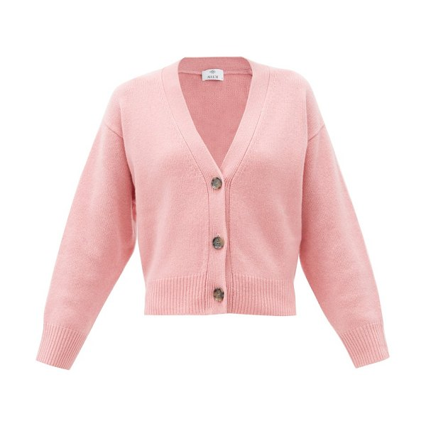 ALLUDE v-neck cashmere cardigan in pink