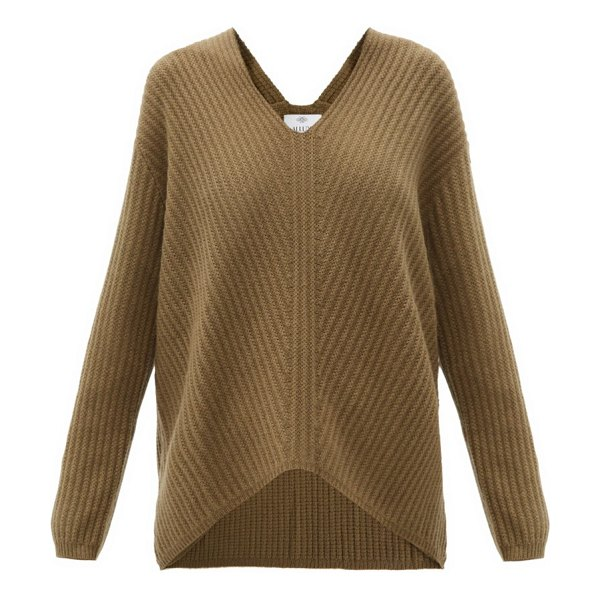 ALLUDE v-neck ribbed cashmere sweater in khaki