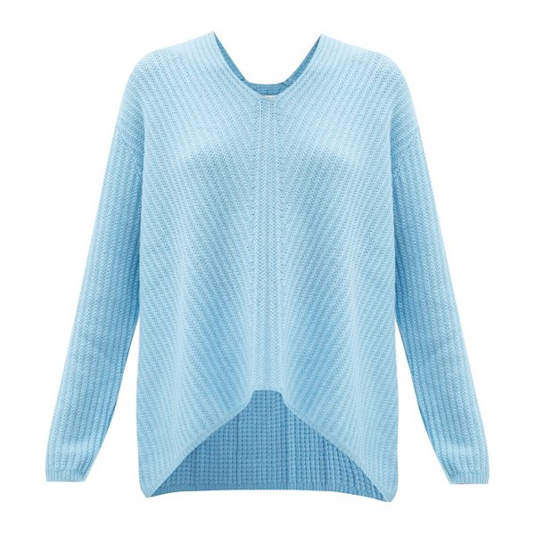 ALLUDE v-neck ribbed cashmere sweater in blue