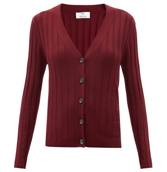 ALLUDE v-neck ribbed-wool cardigan in burgundy
