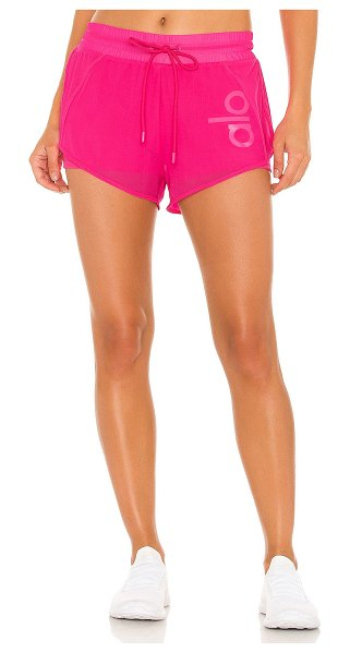 Alo Yoga ambience short in neon pink & white