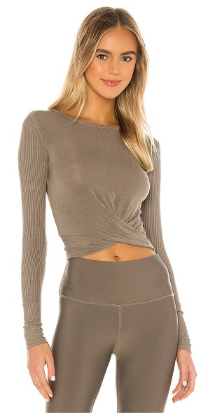 Alo Yoga cover long sleeve top in olive branch