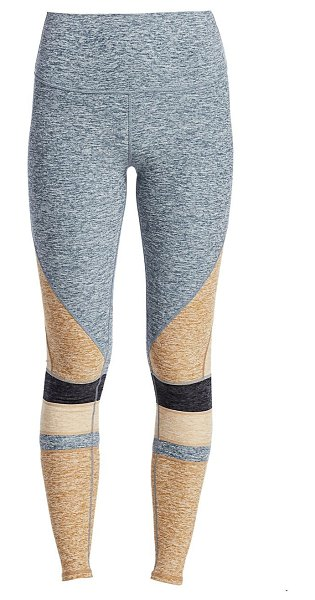 Alo Yoga moment high-waist brushed two-tone leggings in blue haze heather caramel heather