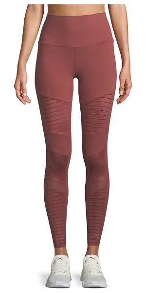 Alo Yoga Moto High-Waist Sport Leggings in rosewood