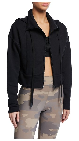 Alo Yoga Trail Hooded Cropped Jacket in black