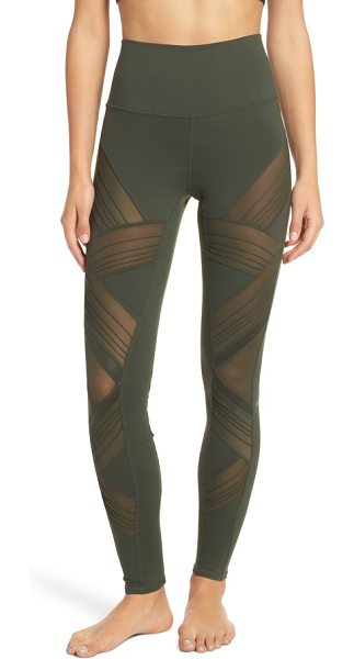 Alo Yoga ultimate high waist leggings in hunter - Ventilating mesh insets with glossy and pintucked...