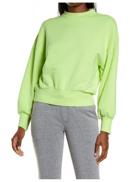 Alternative alana drop shoulder french terry pullover in washed lime