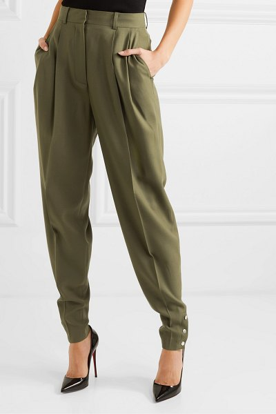 Altuzarra atomica pleated wool-blend tapered pants in gray