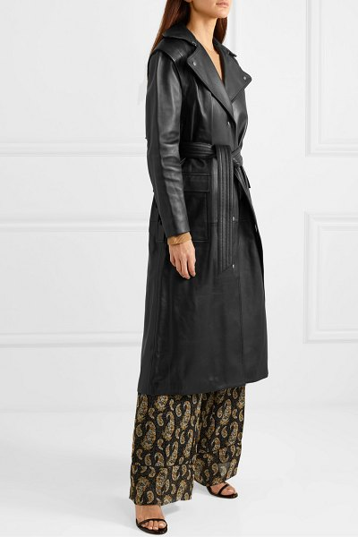 Altuzarra dickson fringed leather trench coat in black