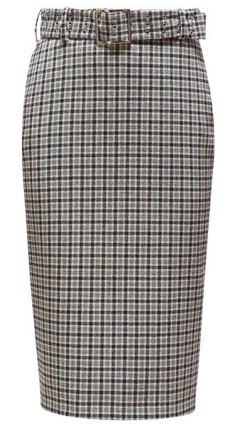 Altuzarra rice belted checked pencil skirt in black white