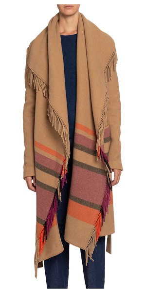 Altuzarra Striped Fringed-Wool Shawl in beige